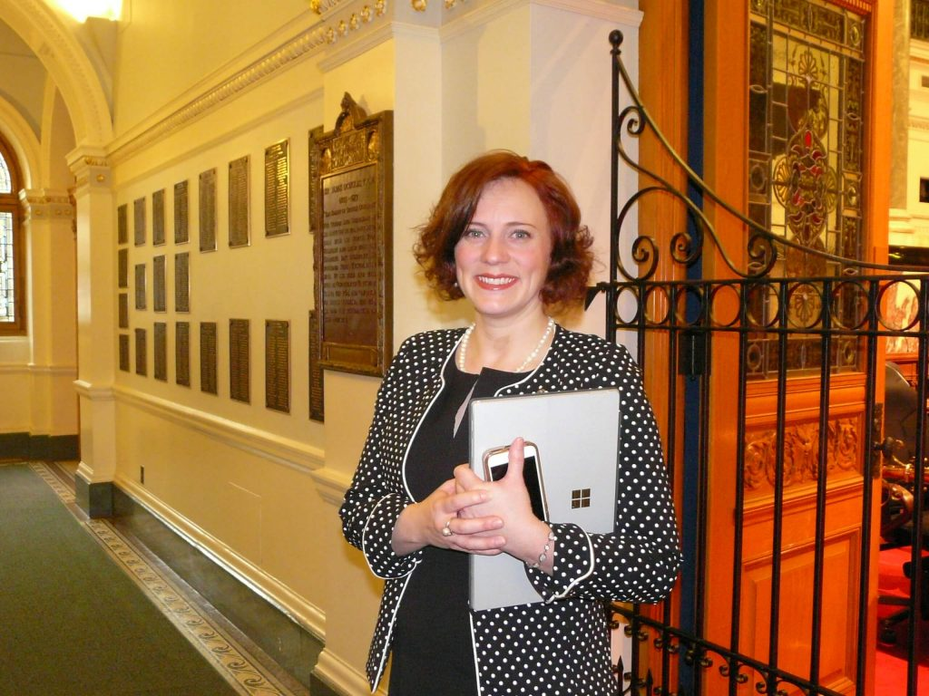 MLA Michelle Mungall at the Legislature